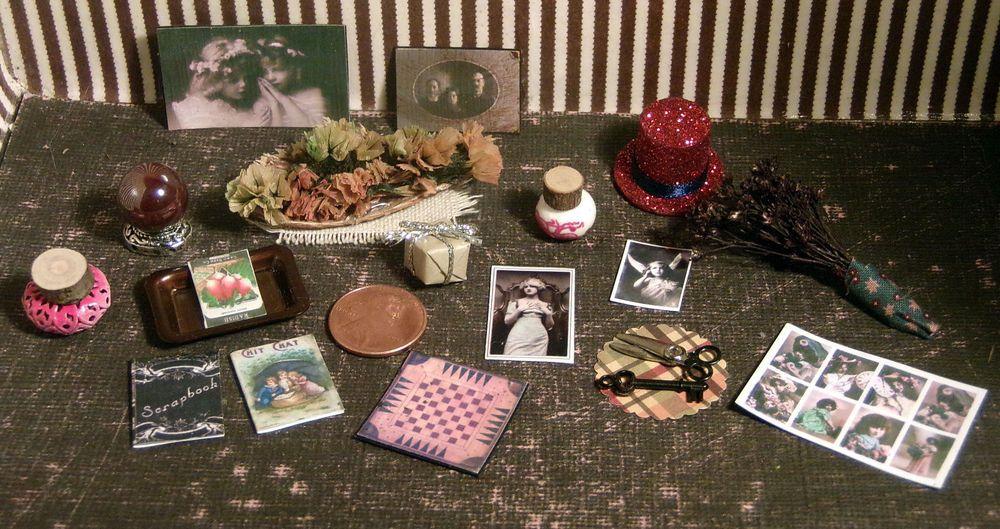 Dollhouse Miniature Tin Tray Flowers Vintage Photos Key Jars Misc Home Lot