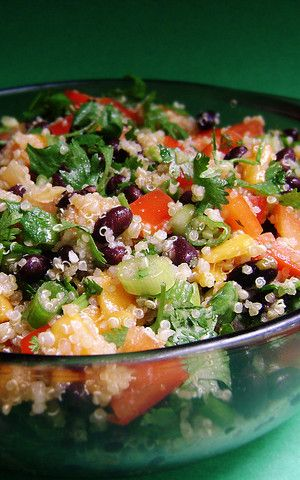 Beautiful Quinoa, Mango & Black Bean Salad for two. Quick, too -- you can chop everything while the quinoa cooks.