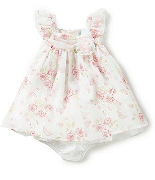 3bc11721a Edgehill Collection Baby Girl Newborn-6 Month Ruffle Sleeve Dress ...