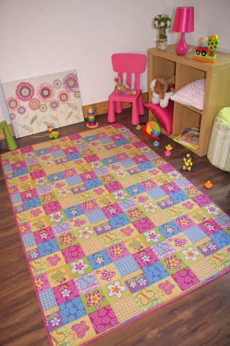 Colourful Fun Pink Butterfly Patchwork Girls Area Floor Rug ...
