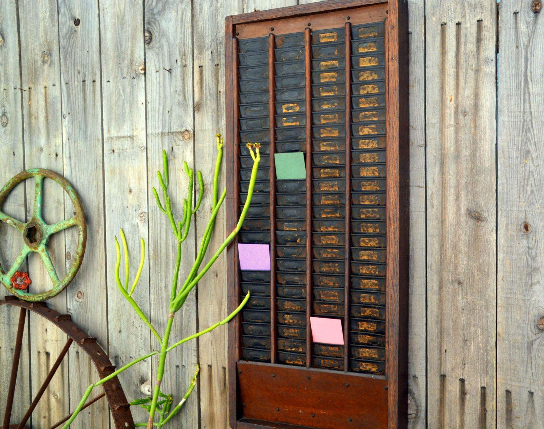 antique time card holder rack by merlesvintage on etsy hanging organizer card holder wooden - Time Card Holder
