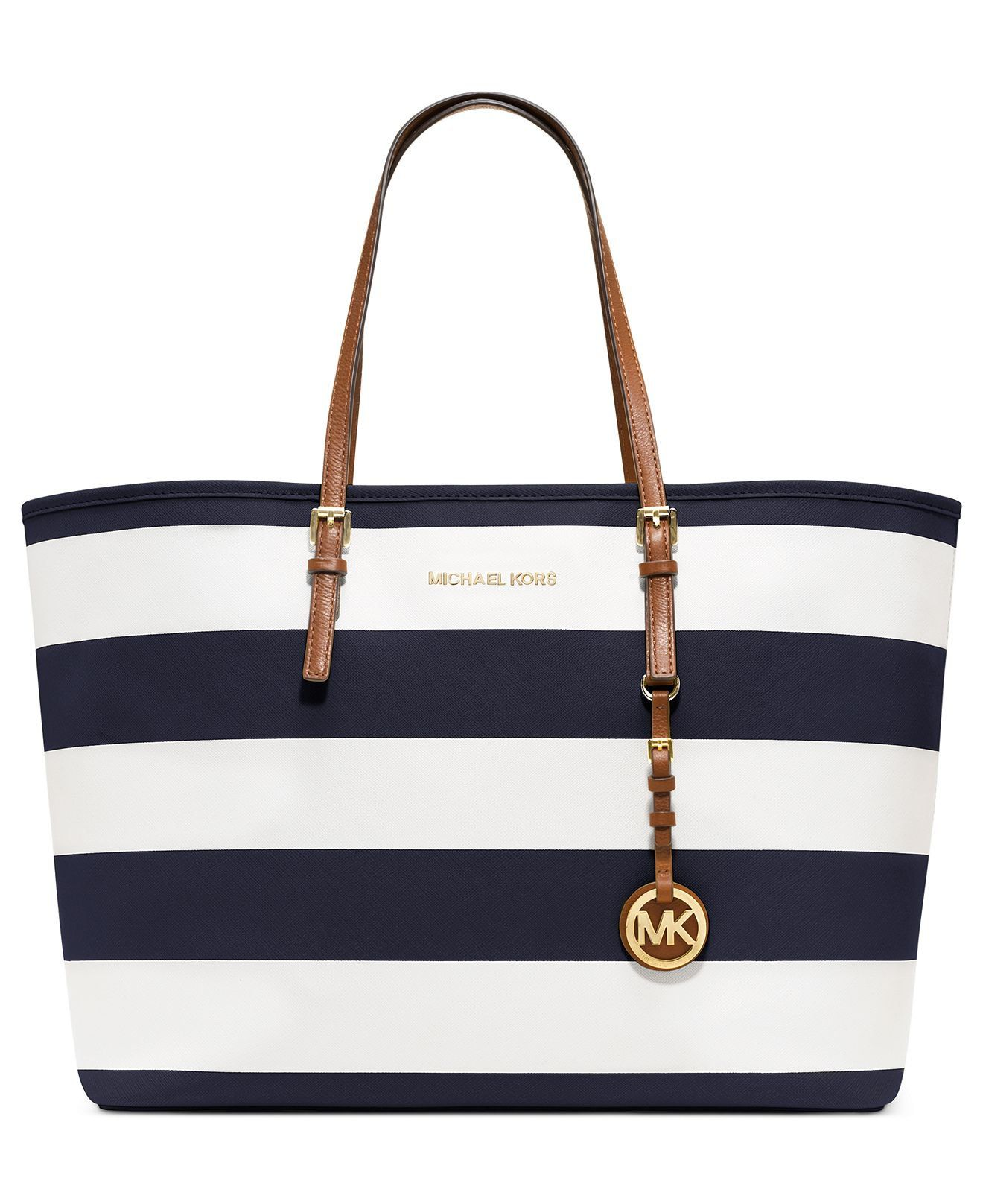 MICHAEL Michael Kors Handbag, Jet Set Stripe Medium Travel Tote - Handbags  \u0026 Accessories -