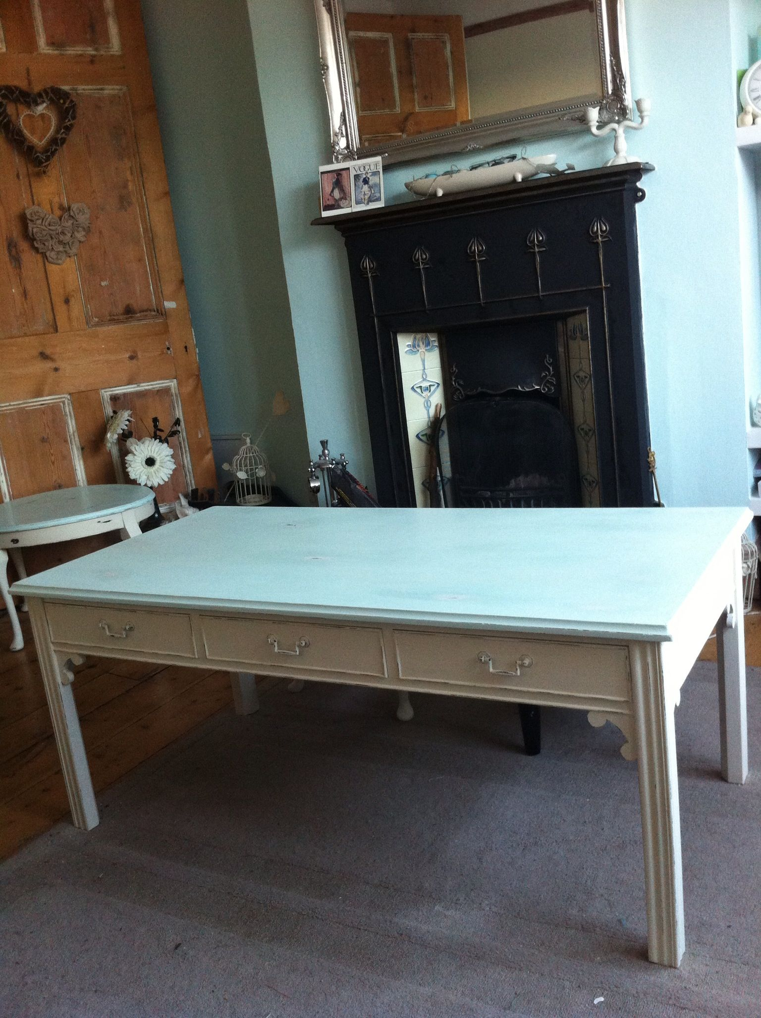 Large Shabby Chic Coffee Table With 6 Draws Duckegg Top And Cream Legs Www Vintagechichome Co Uk