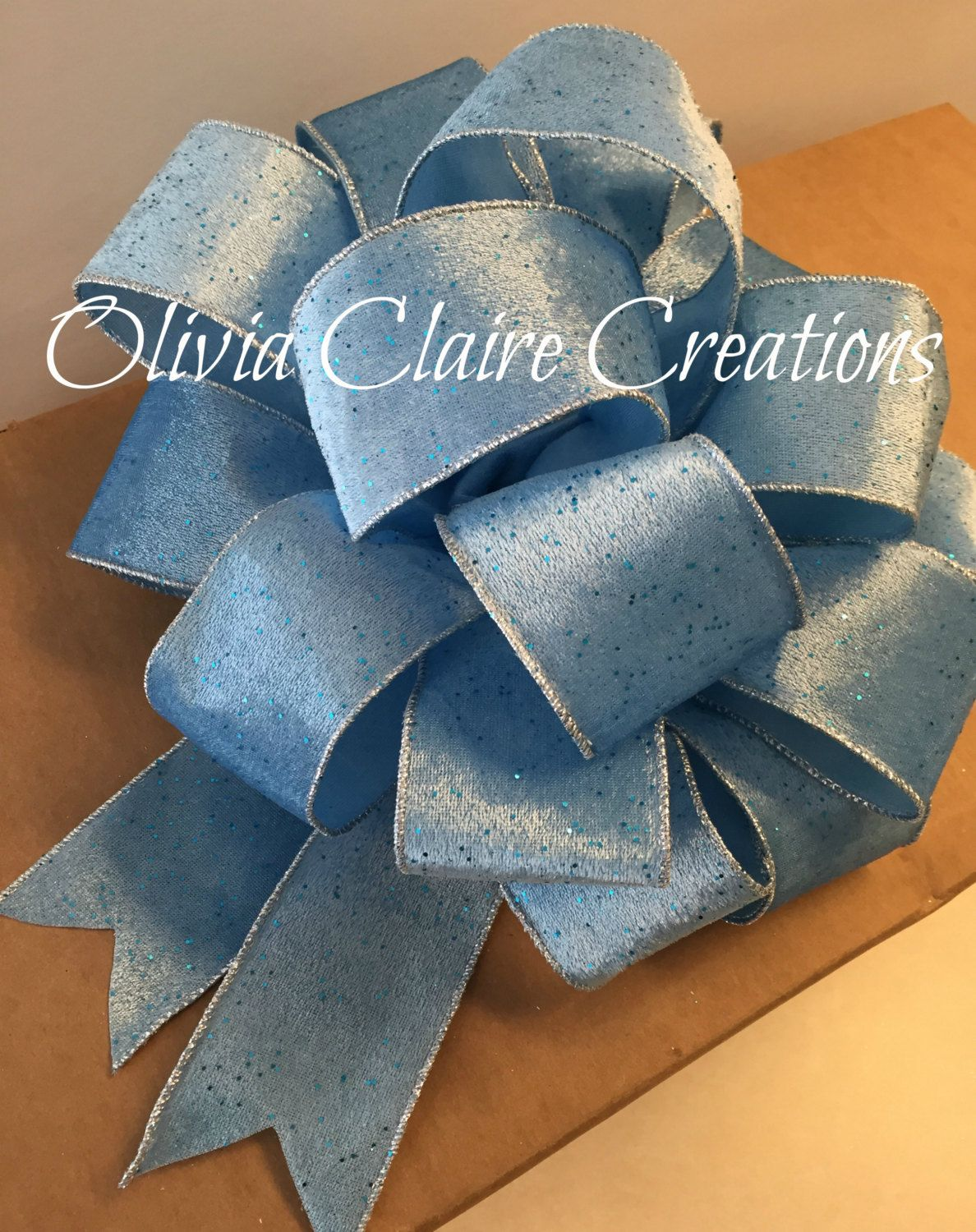 Blue Christmas Tree Bow Topper Holiday Wreath, Fireplace or ...