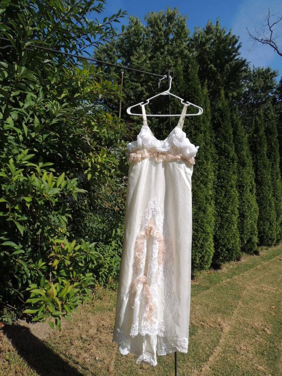 Sale M-L Upcycled Clothing / Champagne Lace Bohemian by Intrigues