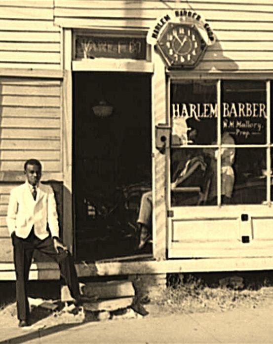 Barber shop on [Hillsboro] street. Oxford, Granville County, North Carolina; Harlem Barber Shop