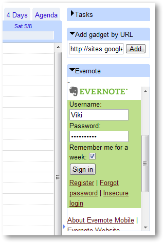 How to add Evernote Gadget to GMail and Google Calendar