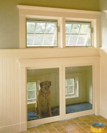 Built in dog kennel in mudroom, although I would put a doggy door on the exterior wall and the food inside the kennel!