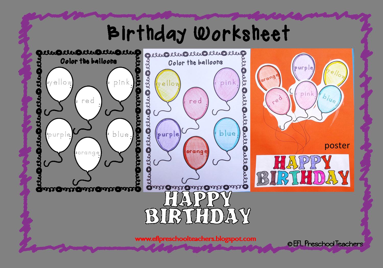 Esl Birthday Theme Worksheets