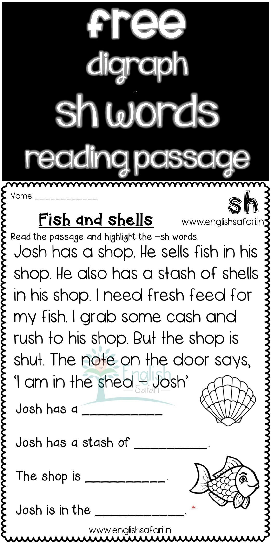FREE** sh words reading comprehension www.worksheetsenglish.com   Phonics  reading [ 2249 x 1125 Pixel ]