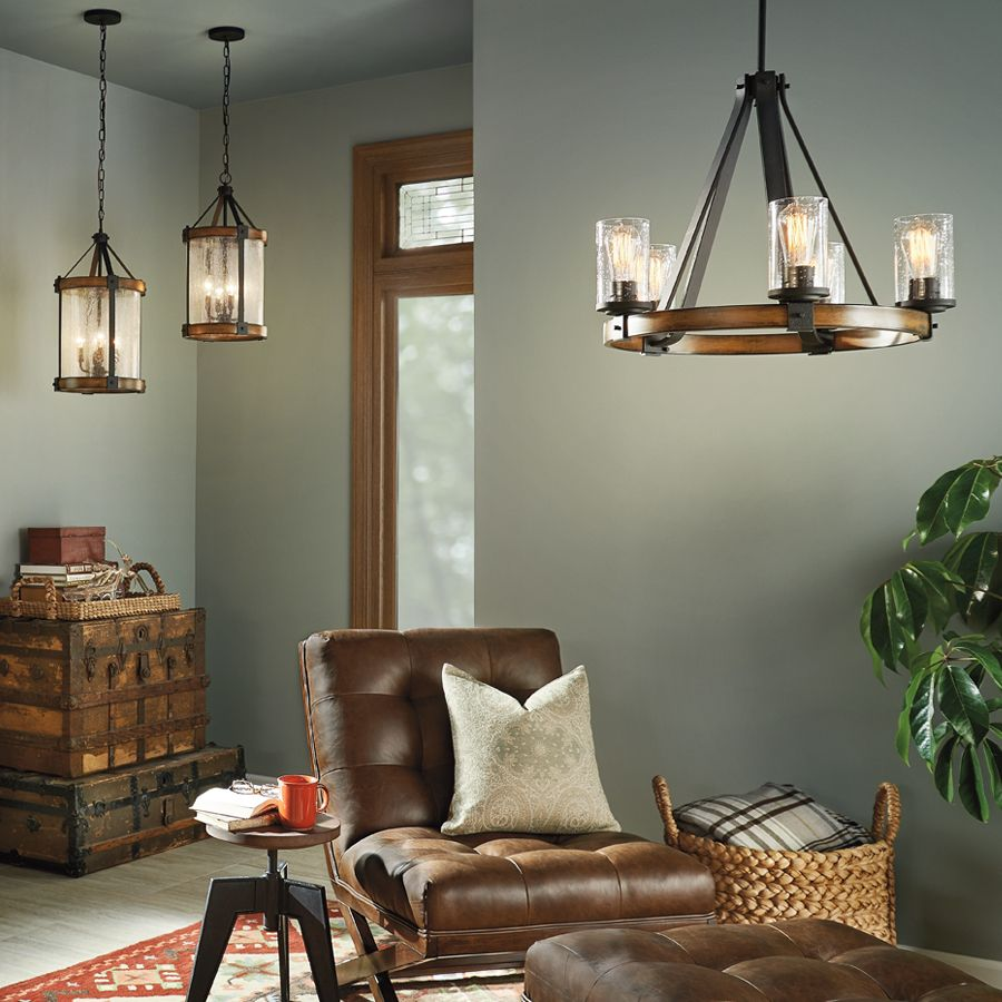Kichler Lighting Barrington Distressed Black And Wood Chandelier 34686