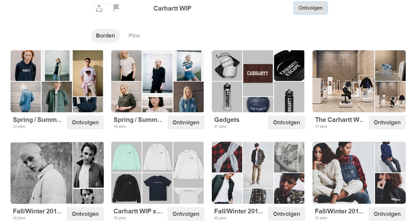 Carharrt is een Amerikaans kledingbedrijf die vooral bekend staat voor zijn vrijetijdskleding. Via Pinterest laten ze hun volgers de nieuwste collecties en kledingstukken zien.