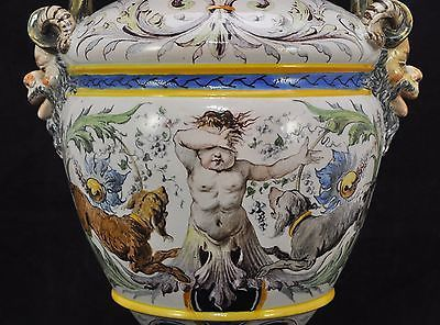 Large Antique Ginori Italian Majolica Hand Painted Snake Handle Urn