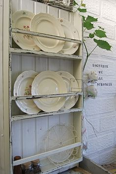 Love The Shabby Chic Plate Rack, And The Old Plates Are Wonderful.