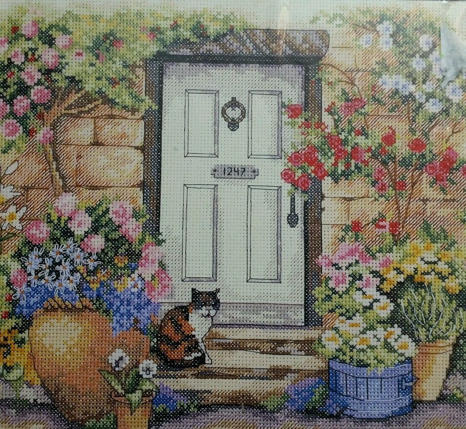 Dimensions Garden Door Kitty Cat Counted Cross Stitch Kit