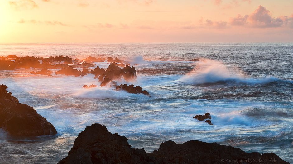 """Touch the light - Roaring Sea on Madeiras Northwest. The last rays of light touch the spray and make this to a picturesque scenery.  Prints and licensing available.  <a href=""""https://www.facebook.com/StefanHefelePhotography"""">Facebook Fan Site</a>  <a href=""""http://www.stefan-hefele.de/en/news.html"""">www.stefan-"""