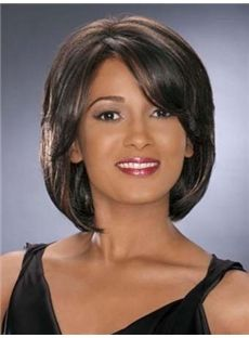 Cheap Short Straight Sepia African American Capless Wigs for Women