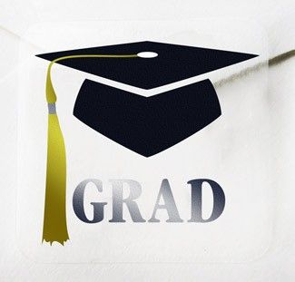 """A perfect finishing touch to your Announcements! Clear envelope seals with black """"cap"""", gold foil """"tassel"""" and silver """"GRAD"""""""