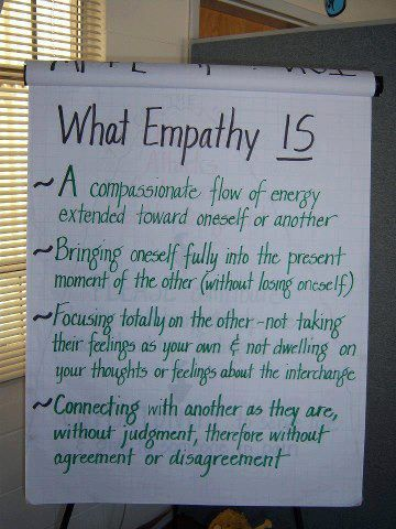 Healthy Empathy. It works if you remember to KEEP your boundaries. Don't lose yourself.