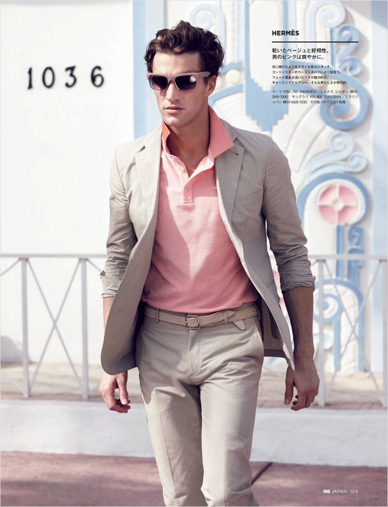 men's fashion...beige suit with salmon pink polo | Summer Suits ...