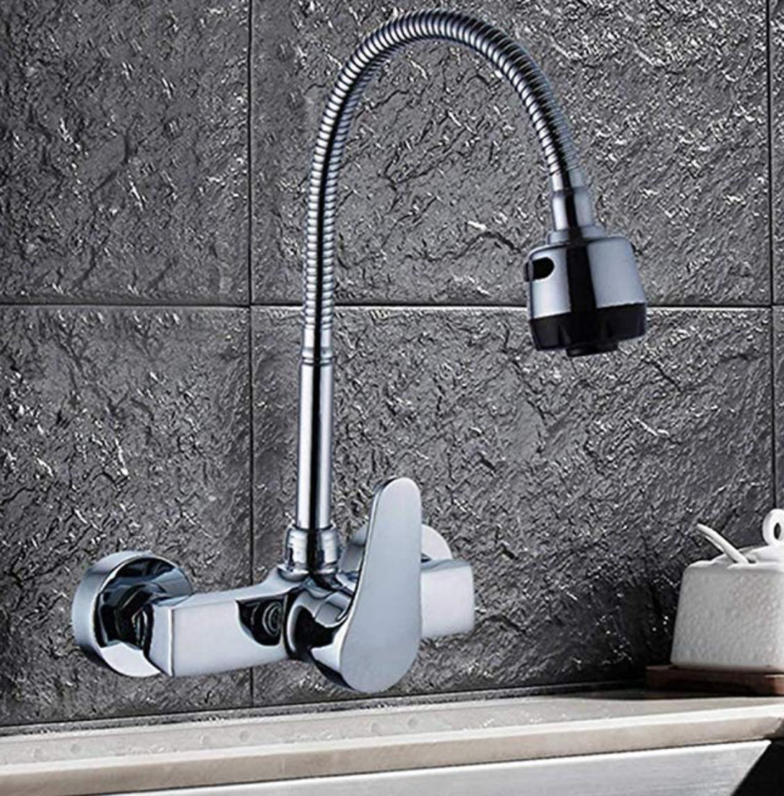 Fzhlr Kitchen Faucet Chrome Wall Mounted Brass Mixer Tap Single Handles Brass Bathroom Sink Faucet Mixer Basi Brass Bathroom Kitchen Taps Chrome Kitchen Faucet