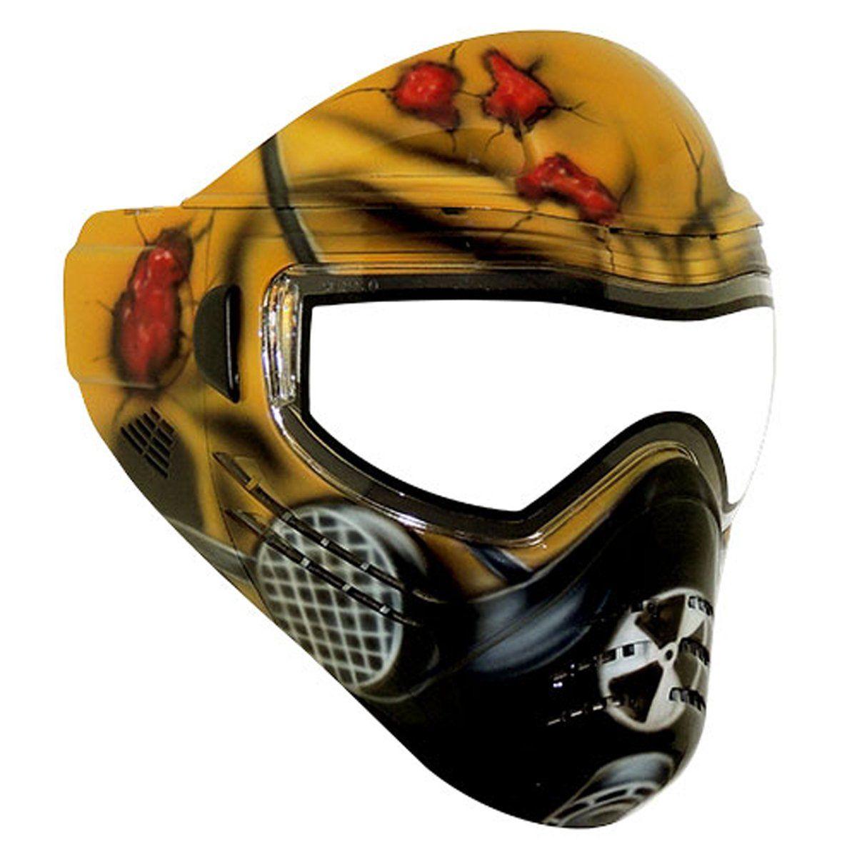 Intimidating airsoft masks at target