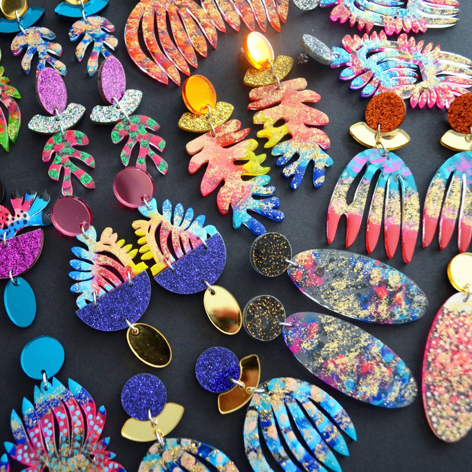 Laser Cut Earrings Acrylic Earring Rainbow Earrings