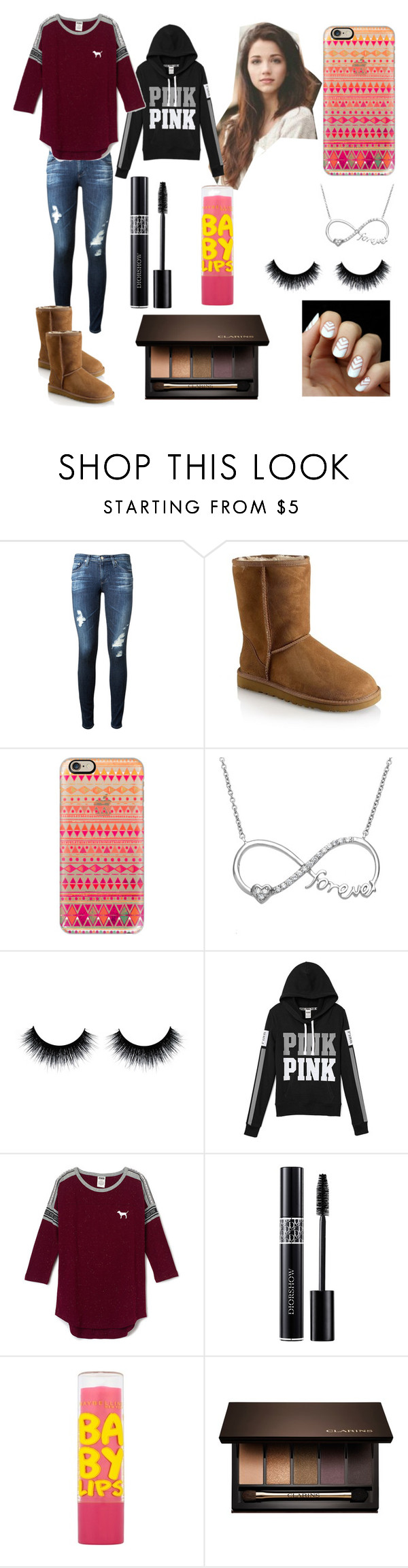"""""""Mondays"""" by x-sophiaaa-x ❤ liked on Polyvore featuring AG Adriano Goldschmied, UGG Australia, Casetify, La Preciosa, Christian Dior, Maybelline and Clarins"""