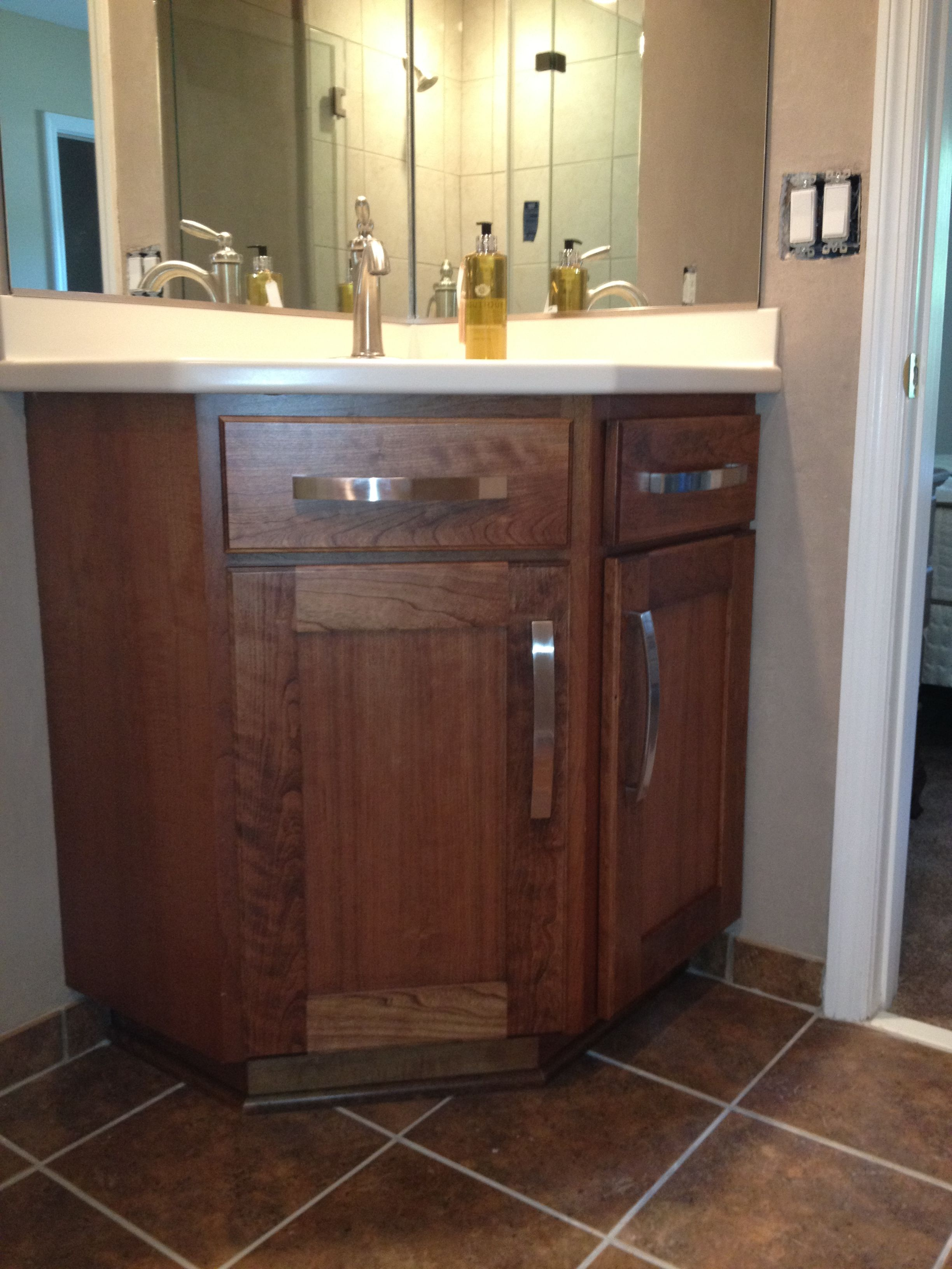 this stained cherry bathroom vanity fits perfectly into the corner rh pinterest com