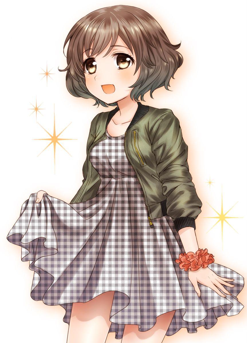 1girl akiyama_yukari black_dress blush brown_eyes brown