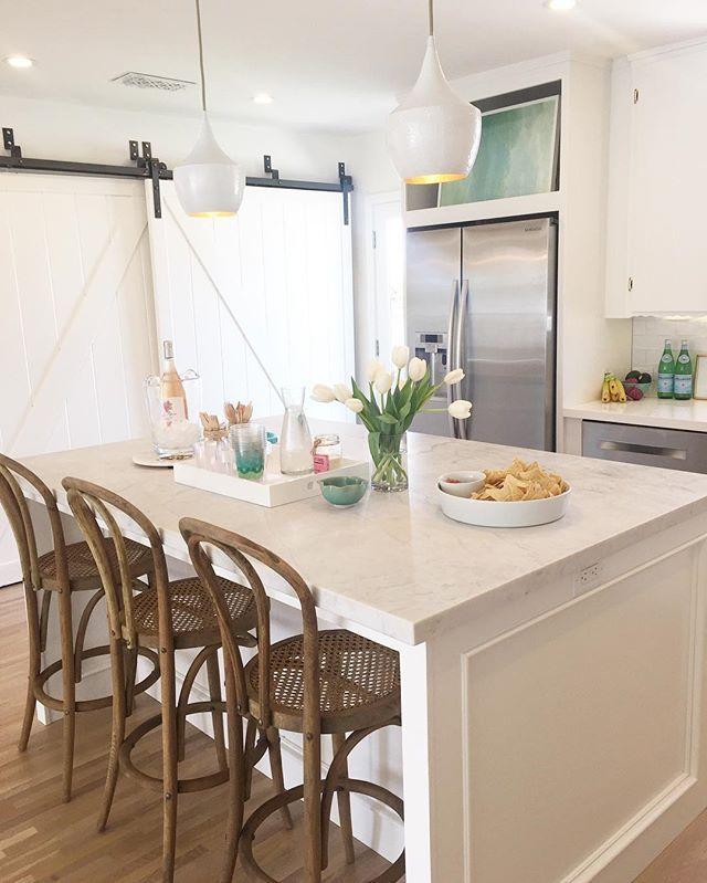White Kitchen + Bentwood Stools + Sliding Barndoor