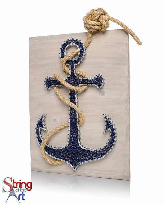 Anchor String Art Kit | DIY Kit Includes All Craft Supplies | Nautical Baby Shower Gift | Beach Decor | Mother's Day Gift From Daughter #stainedwood