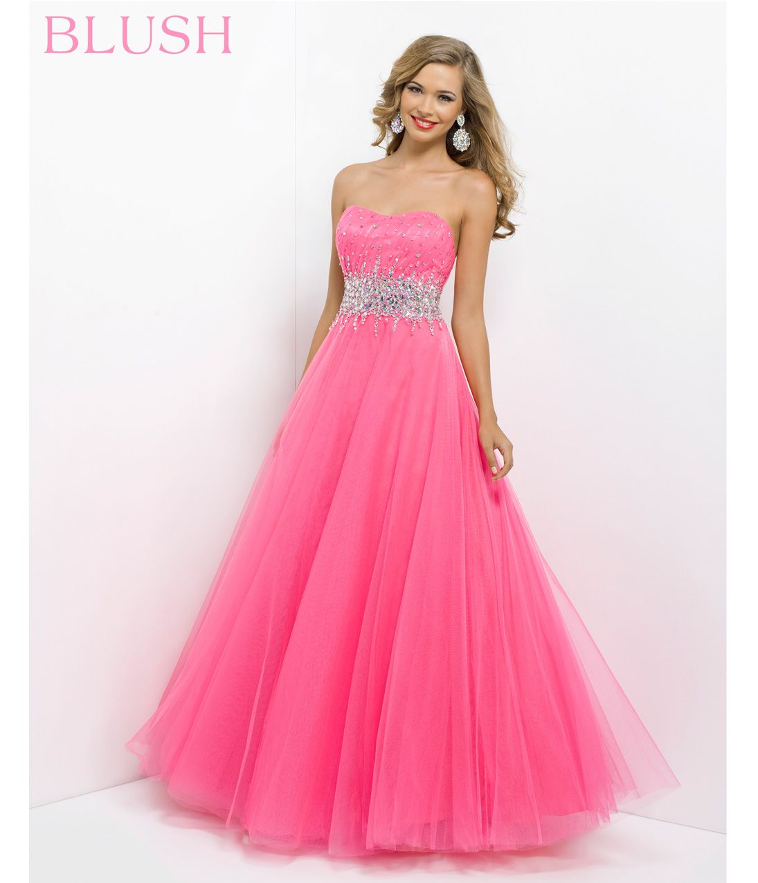 Pink by Blush 2014 Prom Dresses - Azalea Strapless Empire Waist Prom Gown - Unique Vintage - Prom dresses, retro dresses, retro swimsuits.