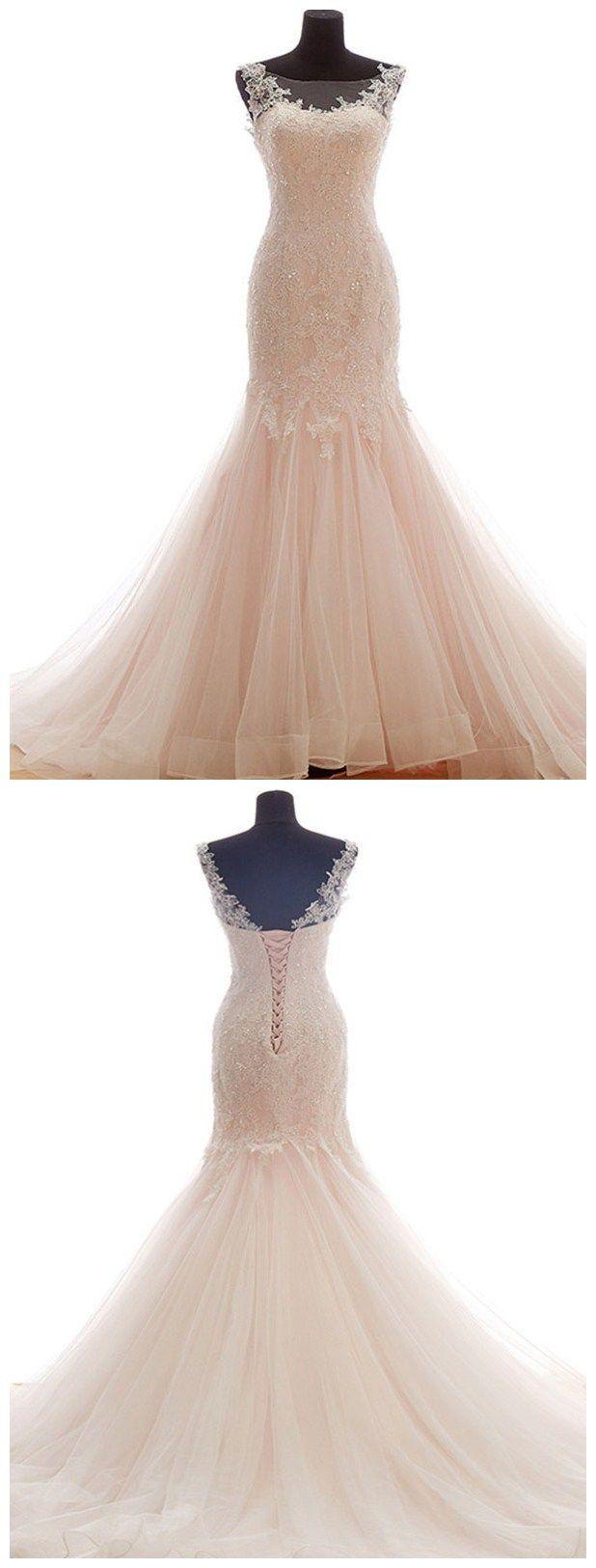 Blush mermaid wedding dress  Eyecatching Tulle Bateau Neckline Mermaid Wedding Dresses With