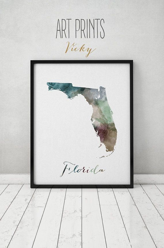 Florida map print, travel map, Florida poster, Florida state, U.S state print, Wall art, travel poster, watercolor home decor ArtPrintsVicky