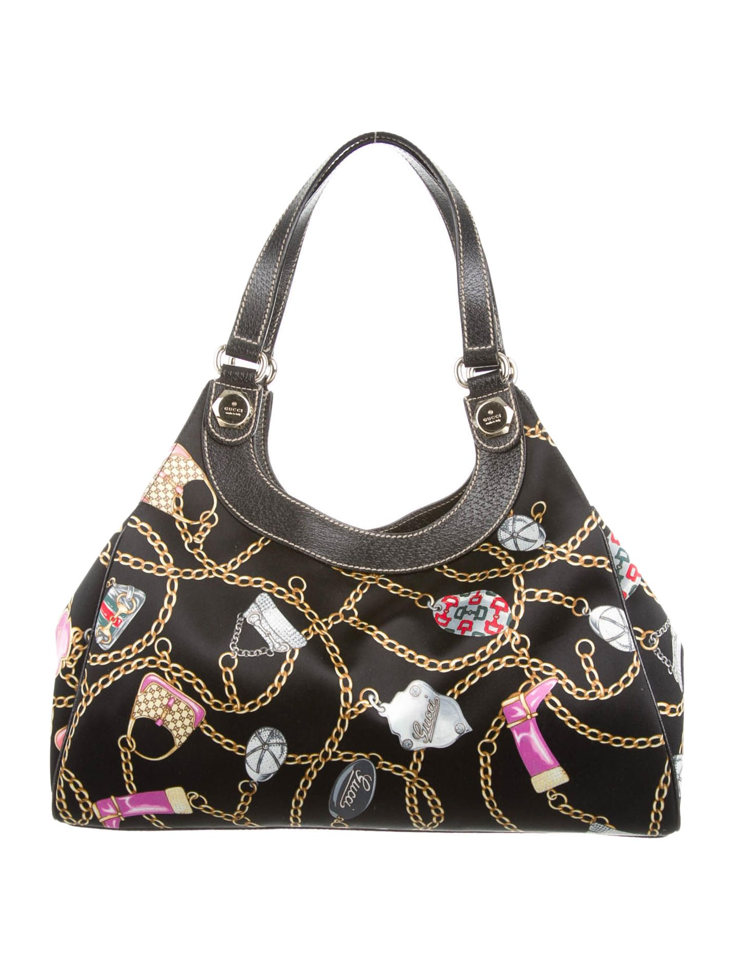 c9f289f79f35 Black and multicolor satin Gucci Charmy shoulder bag with gold-tone  hardware, black leather