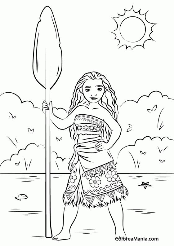 Colorear Princesa Moana de Vaiana (Vaiana), dibujo para ... | Para ...
