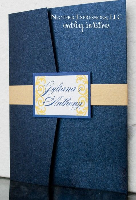 Blue U0026 Gold Wedding Invitation Metallic By NeotericExpressions, ...