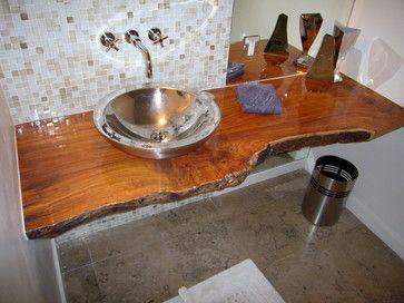 Wood Slab Vanity Bathroom Design Ideas Pictures Remodel And Decor Wood Bathroom Vanity Stone Bathroom Sink Wood Slab