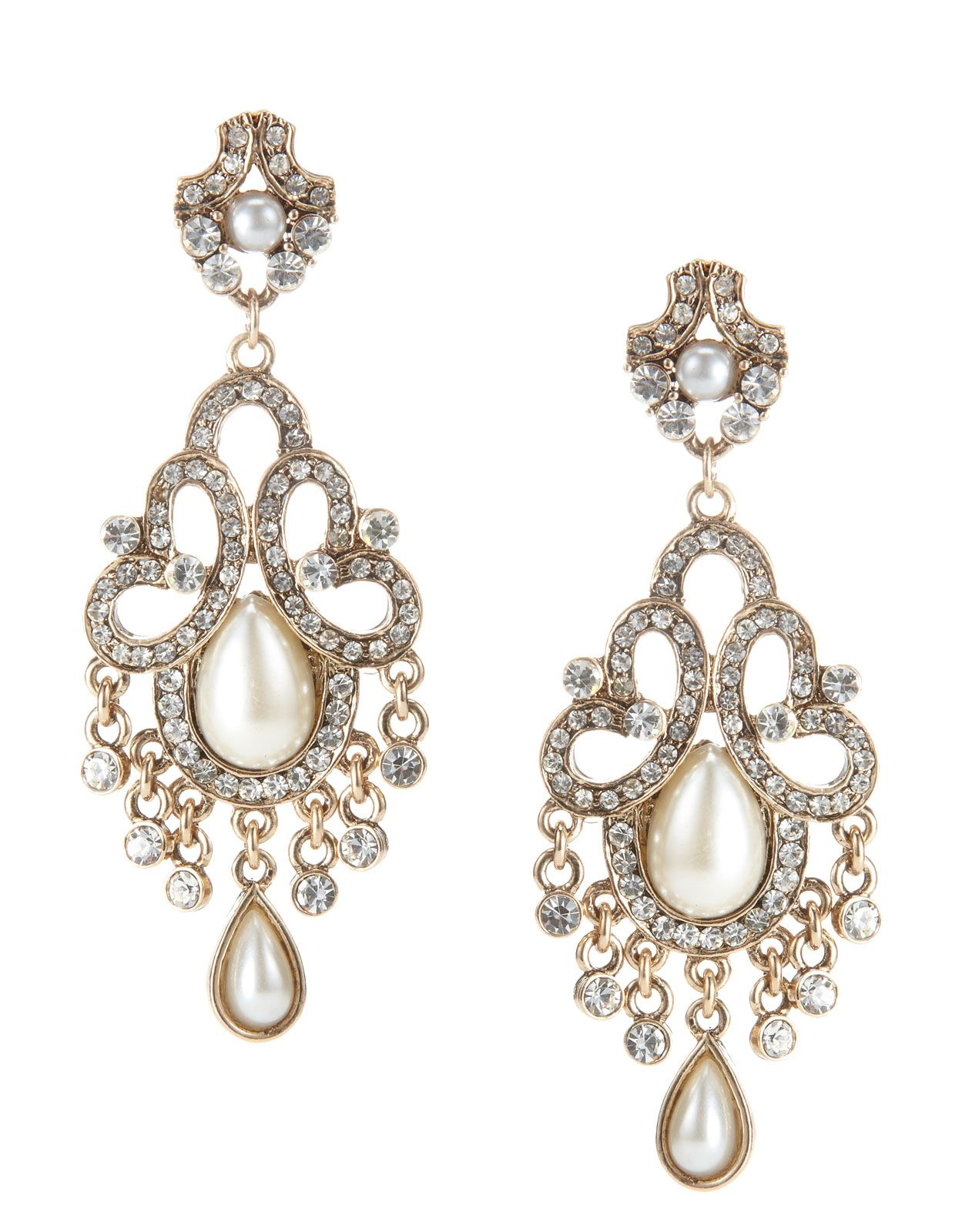 Pearl & Crystal Elaborate Baroque Earrings | Clear | Accessorize
