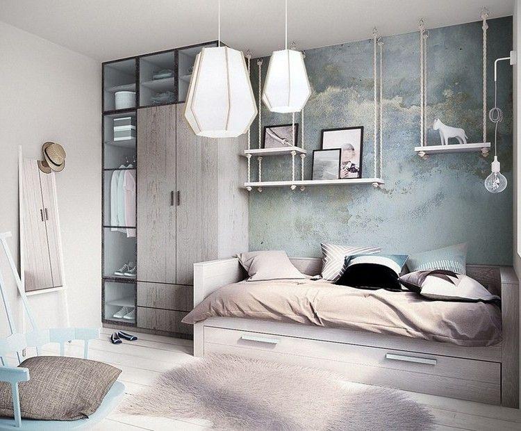 Estantes de madera originales en la habitaci n moderna - Habitaciones juveniles originales ...