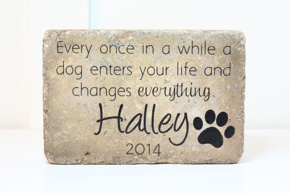 Sympathy Gift. Pet Memorial Stone Tumbled Concrete Paver Stone 6x9 CUSTOM Burial Marker Outdoor or Indoor Dog or Cat Memorial