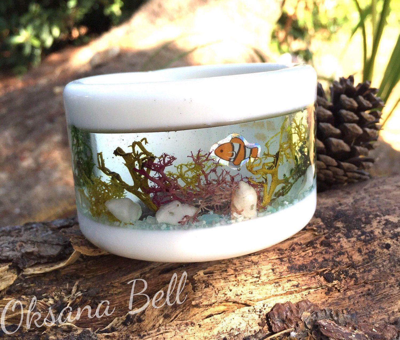 Ocean, Nature Display Window Bangle Bracelet. Handmade Resin Jewelry. New Size M by 50Kats on Etsy