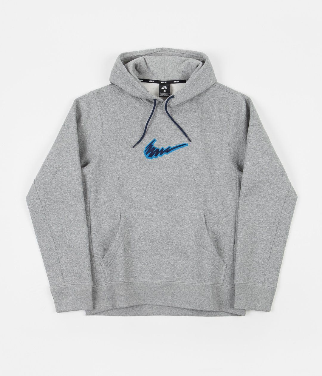 Nike Sb Truck Fleece Hoodie Dark Grey Heather Laser Blue Fleece Hoodie Hoodies Nike Sb [ 1260 x 1080 Pixel ]