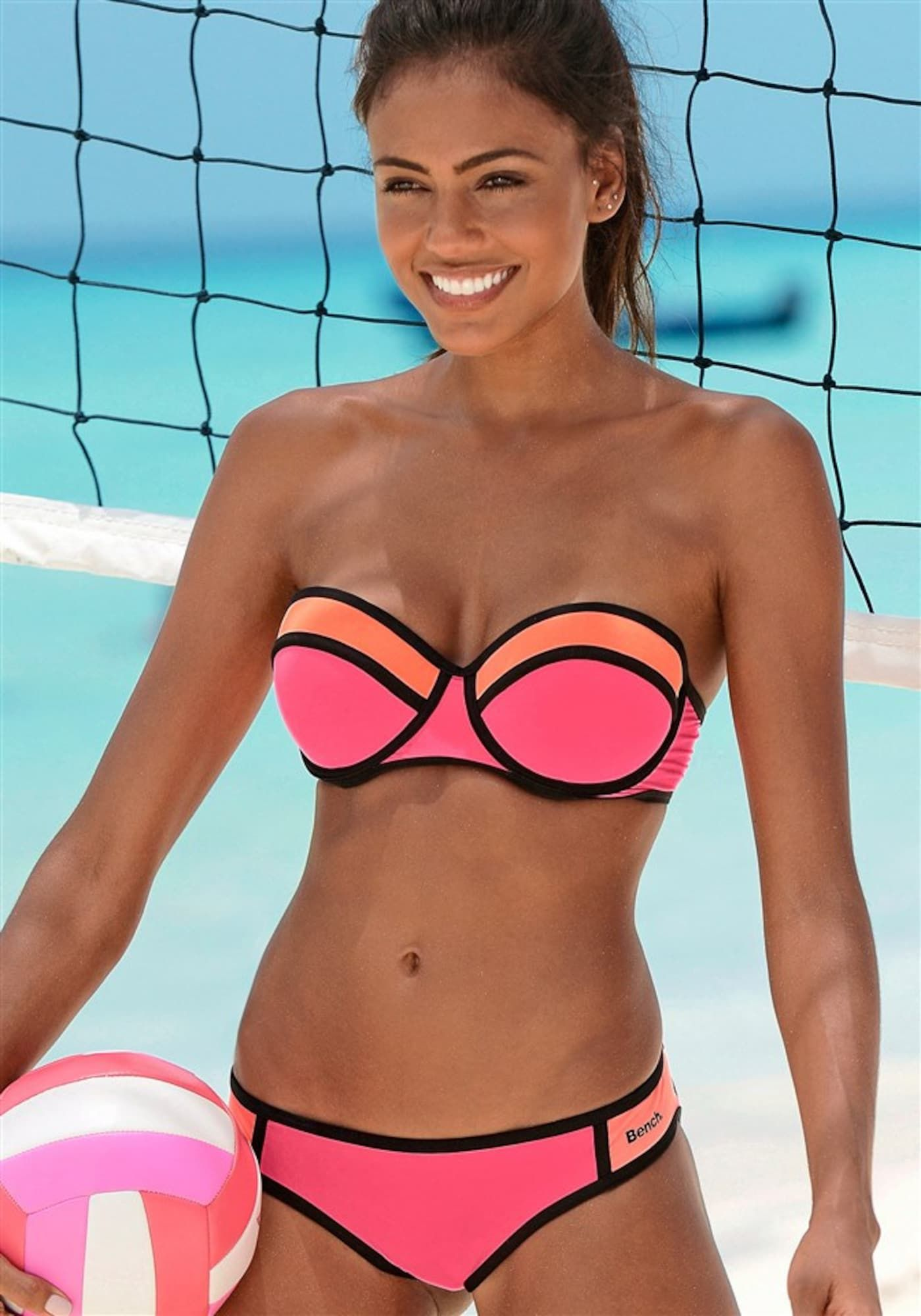 BENCH Balconette-Bikini Damen, Orange / Koralle / Pink, Größe 38 A