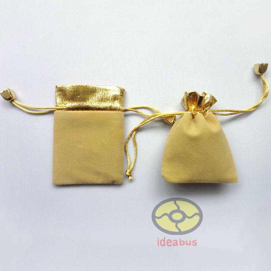 "12//25//50//100pcs Gold Trim Velvet Pouch Wedding Favor Gift Bag 3.5x2.7/"" 4.7/""x3.5/"""