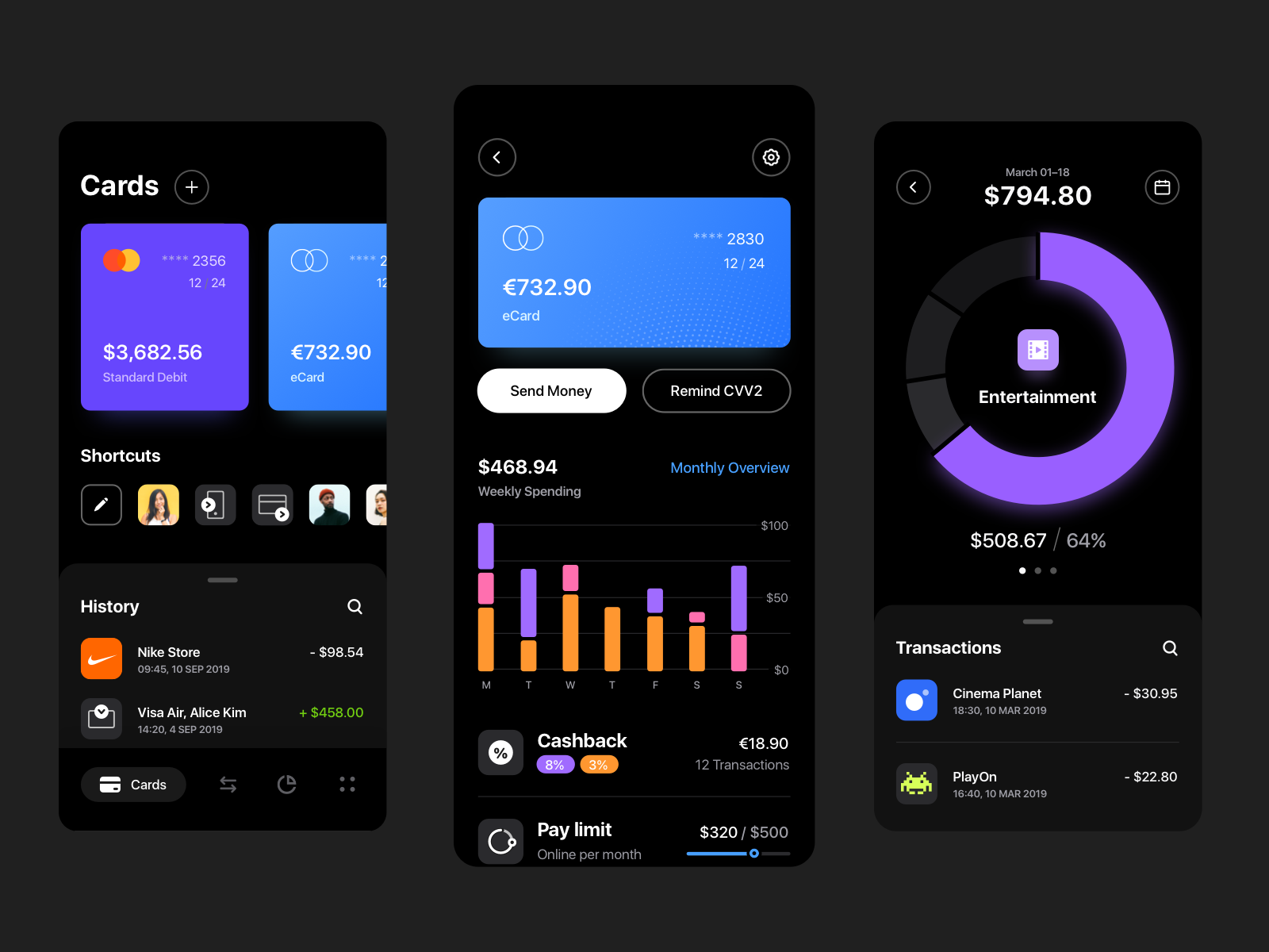 Online Banking App Dark Mode In 2020 Banking App Online Banking Banking