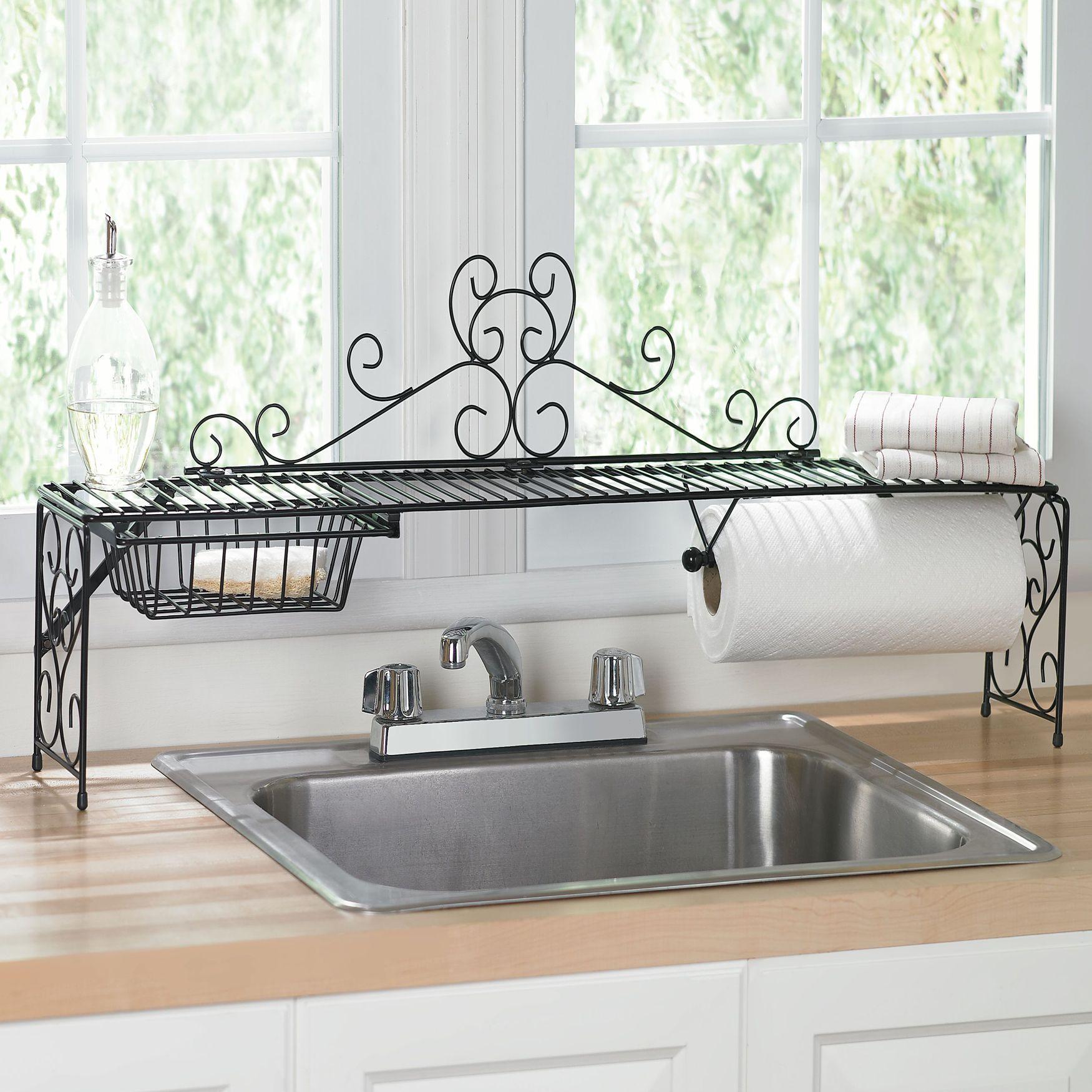 Black BrylaneHome Scroll 2-Tier Over Sink Shelf