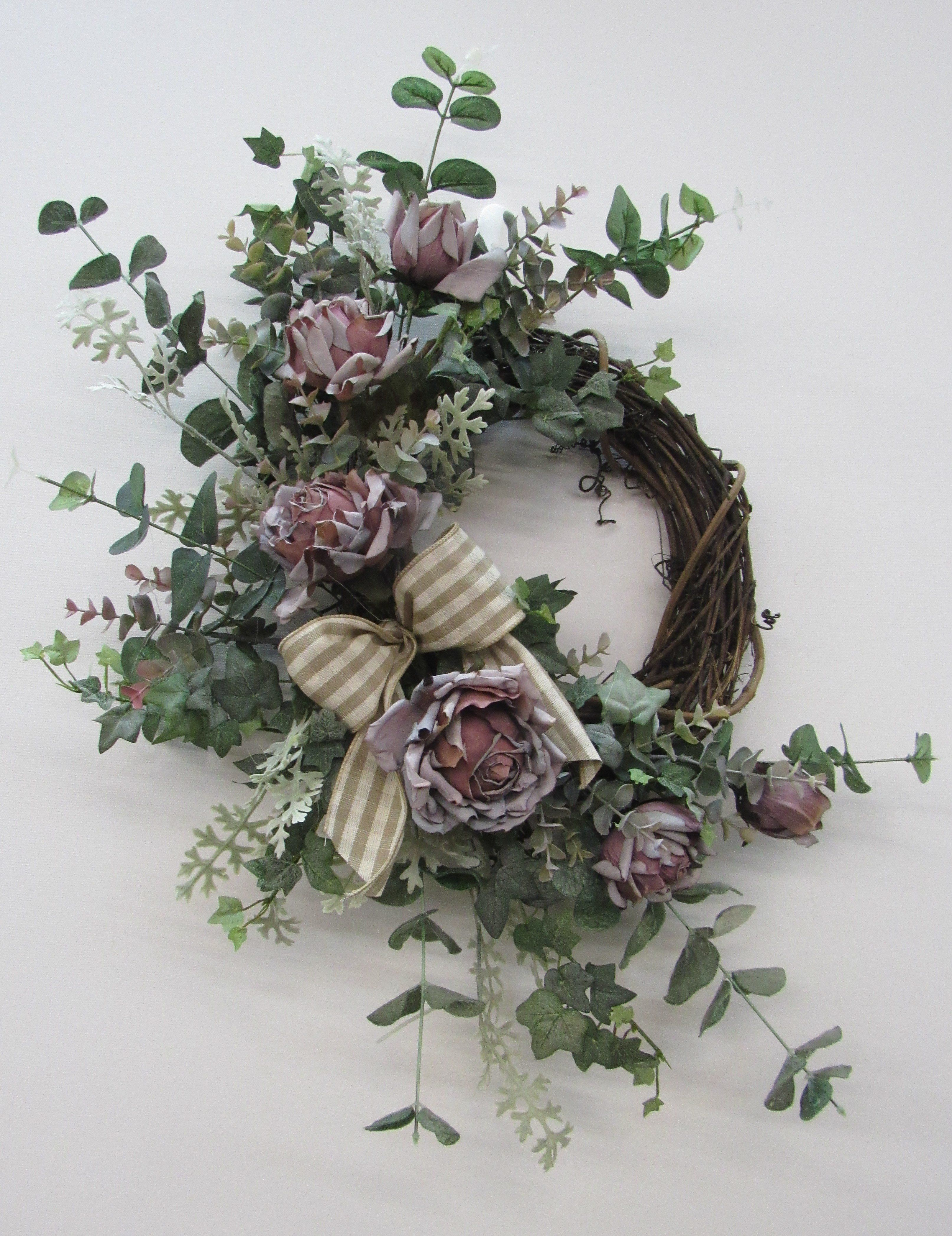 Mauve Rose Silk Floral Vintage Everyday Crescent Wreath Rom24 Decorate My Door Wreaths
