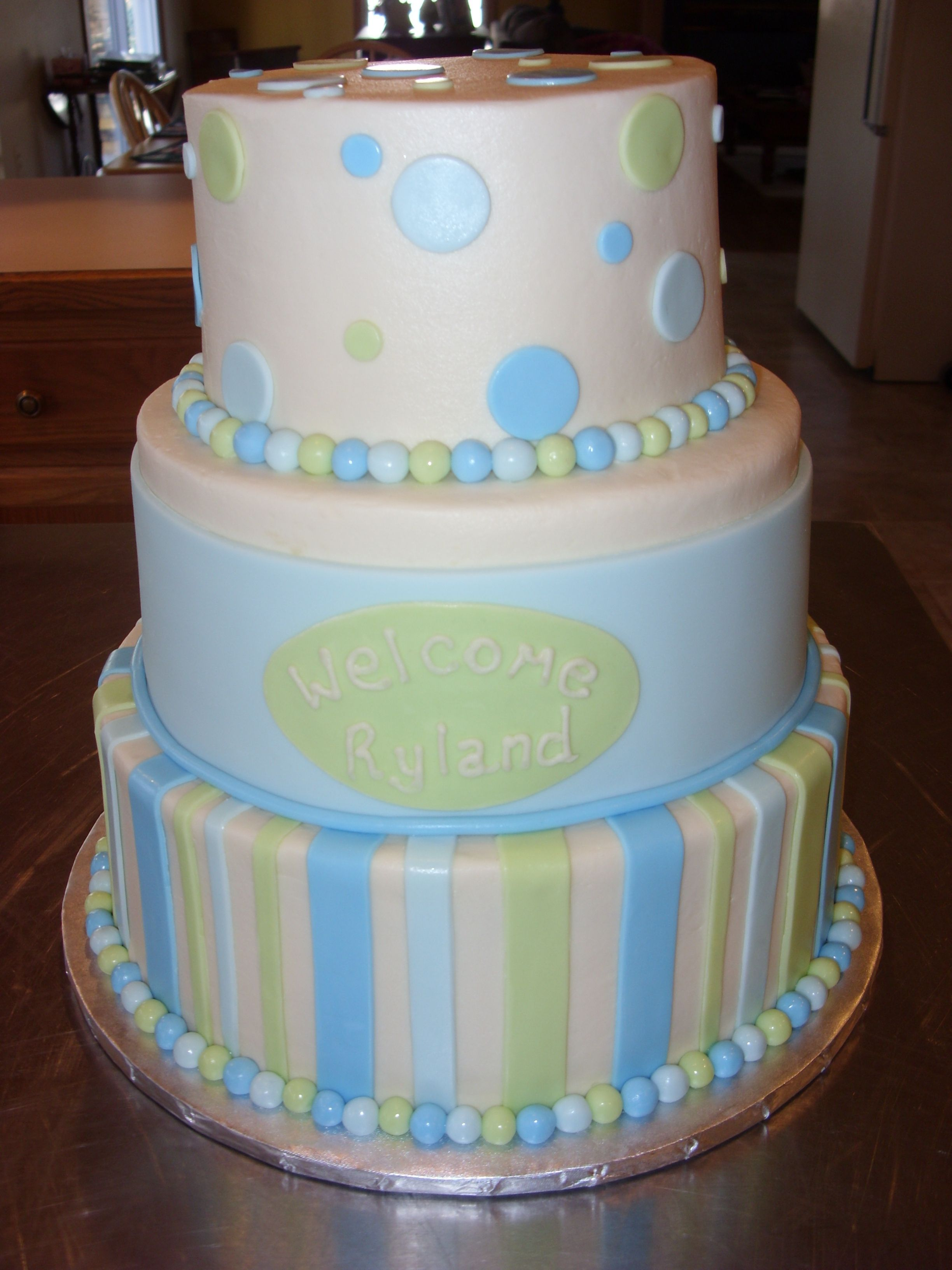 Beautiful Baby Shower Cakes Calgary Part - 2: Perfect Blue And Green Baby Shower Cake